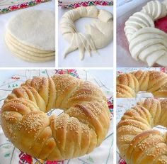 This Delicious Bread Wreath will be Wonderful for a High Tea Pan Comido, Mousse Au Chocolat Torte, Cream Cheese Coffee Cake, Bread Shaping, Braided Bread, Strawberry Cake Recipes, Strawberry Cheesecake, Bread And Pastries, Zucchini Bread