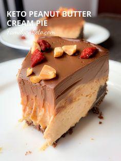 Peanut butter cream pie - keto recipe - Family On Keto Chocolate Chip Cookies, Chocolate Pie Crust, Chocolate Flavors, Chocolate Desserts, Chocolate Ganache, Keto Desserts, Plated Desserts, Keto Snacks, Peanut Butter Cream Pie