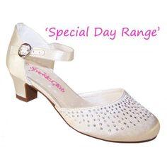 #Girls ivory satin heeled shoes