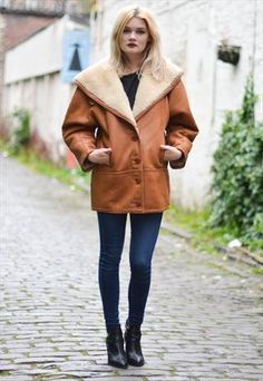 Vintage Tan Suede Sheepskin Shearling Coat Jacket Size 10/12 | My ...