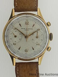 Scarce 1950s 18k Gold Baume Mercier Chronograph Caliber 148 Mens Vintage Watch