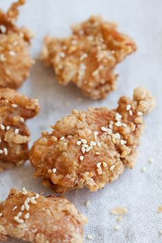 Japanese Fried Chicken Recipe. Crispy, juicy, and crazy delicious. Serve the Japanese fried chicken with miso mayonnaise dip for the best restaurant flavors | http://rasamalaysia.com