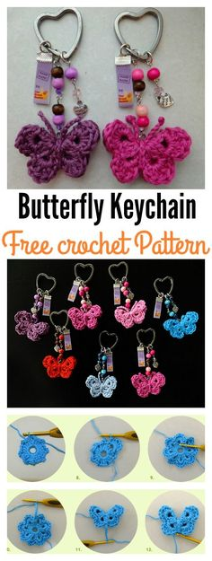 Crochet Amigurumi Patterns Crochet Butterfly Keychain Free Pattern - Crochet Butterfly Keychain Free Patterns are great to create adorable keychains. They can make great gifts that will be cherished and used everyday. Marque-pages Au Crochet, Crochet Mignon, Crochet Puff Flower, Love Crochet, Crochet Gifts, Crochet Flowers, Crochet Key Chain, Crochet Keychain Pattern, Crochet Jewelry Patterns