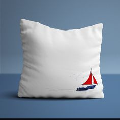 A plump white cushion with a simple but beutiful sailing boat illustration on the front. Nautical Baby Bedding, Baby Nursery Bedding, Baby Boy Nurseries, Babies Nursery, Boat Illustration, White Cushions, Nautical Theme, Beautiful Babies, Baby Quilts