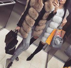 Donna gilet eco pelliccia cappotto senza maniche in pelliccia sintetica faux fur | eBay