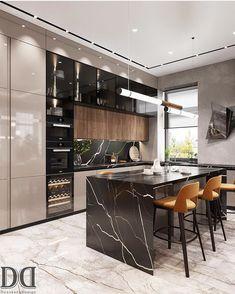 Modern Kitchen Interiors, Luxury Kitchen Design, Kitchen Room Design, Luxury Kitchens, Interior Design Kitchen, Home Design Decor, Home Room Design, Luxury Home Decor, Küchen Design