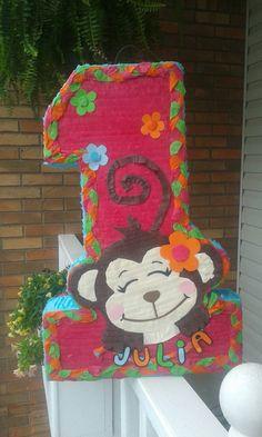 1 st birsthday pinata girl monkey pinata por PrettyCreations4fun