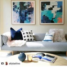That 'Above the Couch' space can be notoriously difficult to fill but these two Amanda Parsons' pieces hit the brief perfectly! 'Winter Magic #2' and 'Winter Magic #7' look amazing on their own or as a pair. Mix and match Amanda's work by searching 'Amanda' at http://ift.tt/1v9jaEU. #theblock #art #wallart #interiors