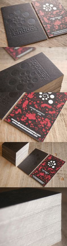 Textured Letterpress And Silver Edge Painted Illustrative Business Card Design