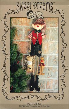 """Wilbur, 22"""" Elf and 7"""" Rudolph Sewing Pattern by Sweet Dreams by CarlasHope on Etsy"""
