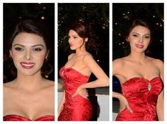 sherlyn chopra hot cleavage showing photos in red dress