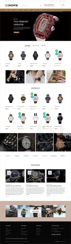 Shopie is stylish and minimal design responsive #Shopify theme for stunning #watch store #eCommerce website with 27+ multipurpose niche homepage layouts download now..