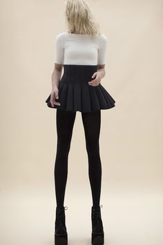 BLACK . NEOPRENE PANELED-HIGH WAIST SKIRT