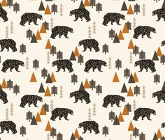 Bears Fabric  Bear / Forest Woodland Camping Trees by Spoonflower