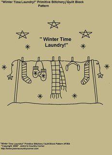 """Primitive Stitchery Pattern, """"Winter Time Laundry!"""" Stitchery / Quilt Block Pattern"""