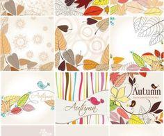 Autumn decorative cards vector
