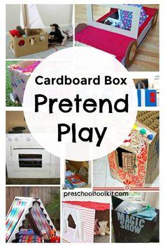 Preschool Pretend Play Ideas with Cardboard Boxes Preschool Toolkit Cardboard Box Crafts, Cardboard Playhouse, Cardboard Toys, Cardboard Furniture, Cardboard Castle, Kids Climbing, Cardboard Fireplace, Diy Box, Imaginative Play