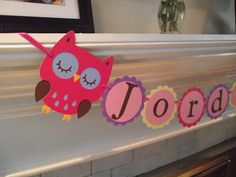 Owl Birthday Banner, SMALL, Bunting, Birthday wall hanging, Birthday Sign, owl, multi colored, girls party, room decor, nursery hanging