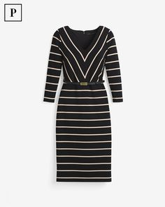 Petite Striped Sheath Dress - White House Black Market