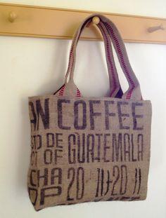 "Burlap Coffee Sack Tote, 14"" long x 12"" tall x 6"" deep. Handles are heavy burlap webbing, measuring 24"