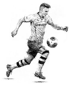 Marco Reus Magazine Illustrations by Dave Merrell via Behance Football Player Drawing, Soccer Drawing, Human Figure Sketches, Figure Sketching, Equipement Football, Football Art, Football Final, Sport Football, Sports Drawings
