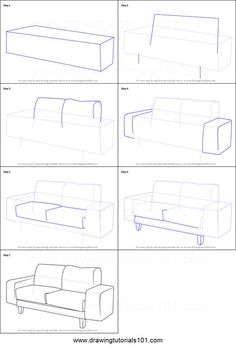zeichnen ideen einfach anleitung How to Draw a Couch Printable Drawing Sheet by . Step By Step Sketches, Sketches Tutorial, Step By Step Drawing, Croquis Architecture, Architecture Drawing Sketchbooks, Landscape Architecture, Perspective Drawing Lessons, Perspective Art, Interior Design Sketches