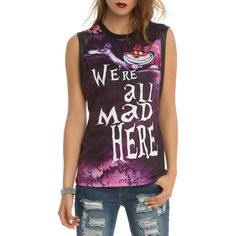 Disney Alice In Wonderland We're All Mad Girls Muscle Top ($20) ❤ liked on Polyvore featuring tops, disney tank tops, no sleeve tops, purple top, disney and cat tank