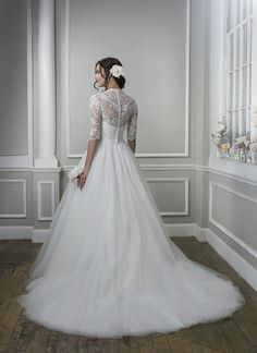 Lillian West 6387 - Venice lace and tulle ball gown accented with a v-neck neckline - The Blushing Bride boutique in Frisco, Texas