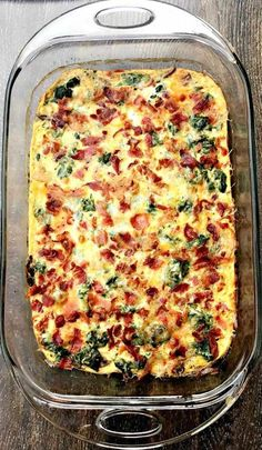 Low-Carb Bacon, Egg, and Spinach Breakfast Casserole - Best Keto Breakfast Casserole Recipes for Ketogenic Diet. Try these amazing Keto breakfast casserole Breakfast And Brunch, Best Keto Breakfast, Make Ahead Breakfast, Breakfast Ideas, Low Carb Breakfast Casserole, Ketogenic Breakfast, Breakfast Pizza, Breakfast Cereal, Breakfast Crockpot