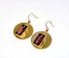 2.20 Rhodolite Quartz Rectangle Bar Earrings / Bollywood