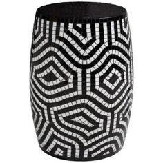 This black and white mosaic accent table draws attention and coziness for your home. Chohan Black and White Mosaic Accent Table. Mosaic Planters, Mosaic Vase, Mosaic Flower Pots, Mosaic Diy, Mosaic Tiles, Tile Art, Black Accent Table, Accent Tables, Black Table