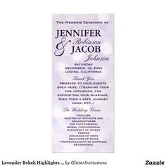 Lavender Bokeh Highlights Wedding Program #lavenderweddding #lavenderprogram #weddinglavender