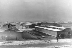 "Barracks at the ""gypsy camp"" in Auschwitz, probably after liberation"