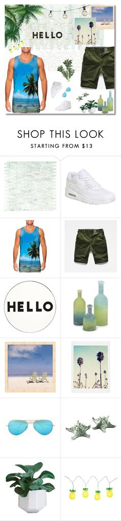 """Summertime With Him 🌴"" by girlonstage ❤ liked on Polyvore featuring NIKE, G-Star Raw, Lisa Perry, Ray-Ban, Vagabond House, Sunnylife, Bulbrite, men's fashion, menswear and summermenswearessentials"