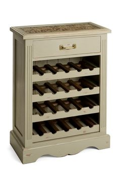 Shabby Chic Hand Painted Wine Rack With Sliding Trays And Unique Wine Cork  Top
