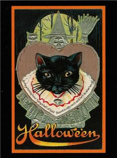 Halloween Black Cat in Collar with Bell Repro Postcard 81 | eBay