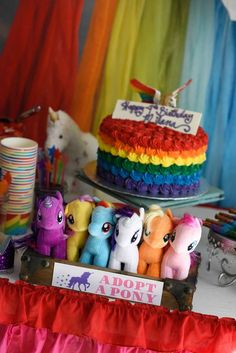 Adopt a pony at a rainbows and unicorns birthday party! See more party planning ideas at CatchMyParty.com!
