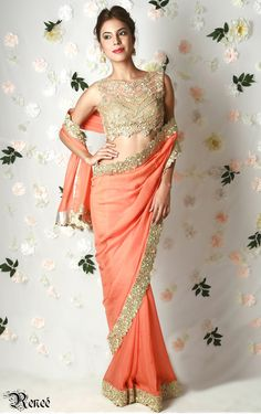 Gold net mirror work blouse with tangerine sari by Renee label