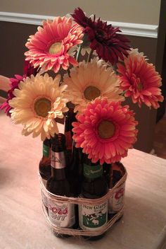 Beer Bottle Flower Vase. Designed and created by QBcheck Designs.