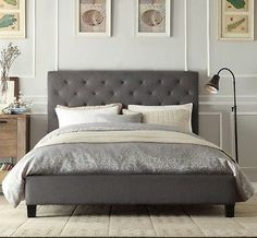 Chester Double Queen King Size Grey White Charcoal Fabric Bed Frame