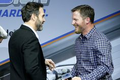 Dale Earnhardt Jr. talks with Jimmie Johnson during Appreci88ion, An Evening With Dale Earnhardt Jr. Presented By Nationwide at The Cosmopolitan of Las Vegas on November 28, 2017 in Las Vegas, Nevada.