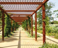 Industrial pergola- corten steel  mesh and columns