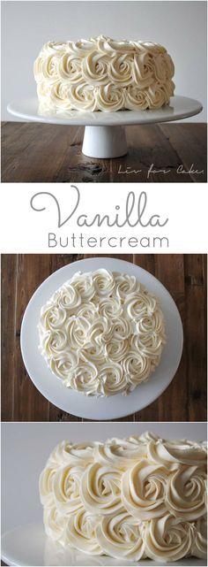 Buttercream recipe - Quick, easy, and delicious vanilla buttercream recipe livforcake com via Frosting Recipes, Cupcake Recipes, Cupcake Cakes, Dessert Recipes, Fondant Recipes, 16 Cake, Gourmet Cupcakes, Food Cakes, Just Desserts