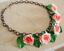 30's 40's inspired rose necklace, flower necklace.