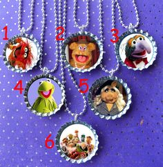 Muppets party bottle cap necklace Party Favor pack 6  by ThatRocks, $12.00