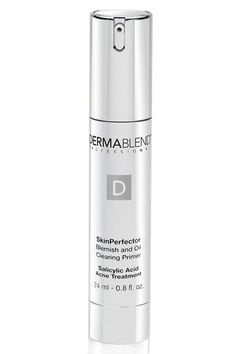Dermablend SkinPerfector Blemish and Oil-Clearing Primer  Ideal for those with acne-prone skin, this lightweight pick mattifies your complexion so makeup won't slide off and fights blemishes with a blend of salicylic acid.    Dermablend SkinPerfector Blemish and Oil-Clearing Primer, $45, dermablend.com.