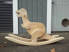 Its made entirely from pine with a primer basecoat and three coats of acrylic, non toxic paint. Wooden Ride On Toys, Wood Toys, Rocking Horse Plans, Wooden Rocking Horses, Wooden Rocker, Dinosaur Toys, Dinosaurs, Woodworking Toys, Kids Wood