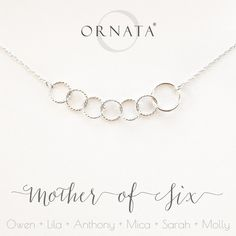 MOTHER OF SIX PERSONALIZED STERLING SILVER NECKLACE CIRCLE MOTHER CHILD NECKLACES GIFT FOR MOM GIFTS