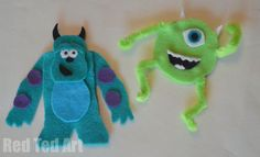 Simple puppets with template. Love Monsters Inc crafts.