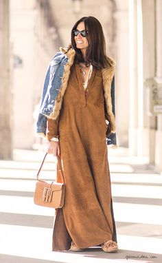 Street style, Paris Fashion Week, suede dress / Garance Doré